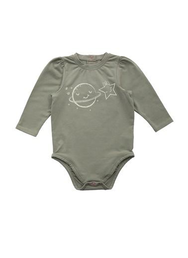 Nila Kids Açık Yeşil Rengi Karpuz Kol Detaylı Organik Kız Bebek Body NK01012AY (3 AY- 1 YAş) Renkli